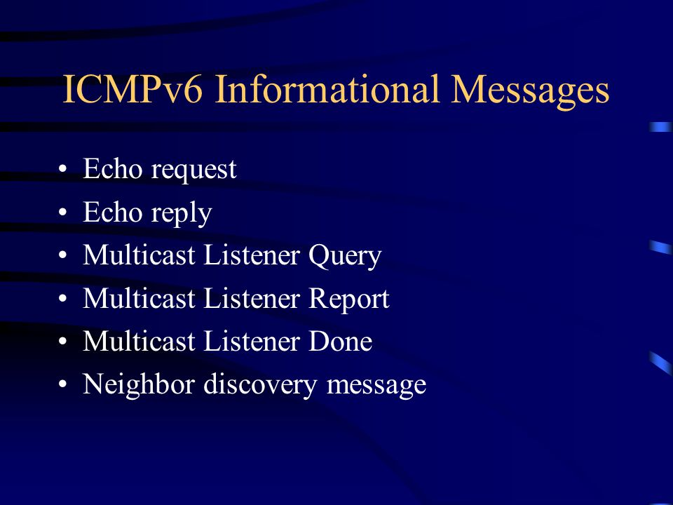 ICMPv6 Informational Messages Echo request Echo reply Multicast Listener Query Multicast Listener Report Multicast Listener Done Neighbor discovery message