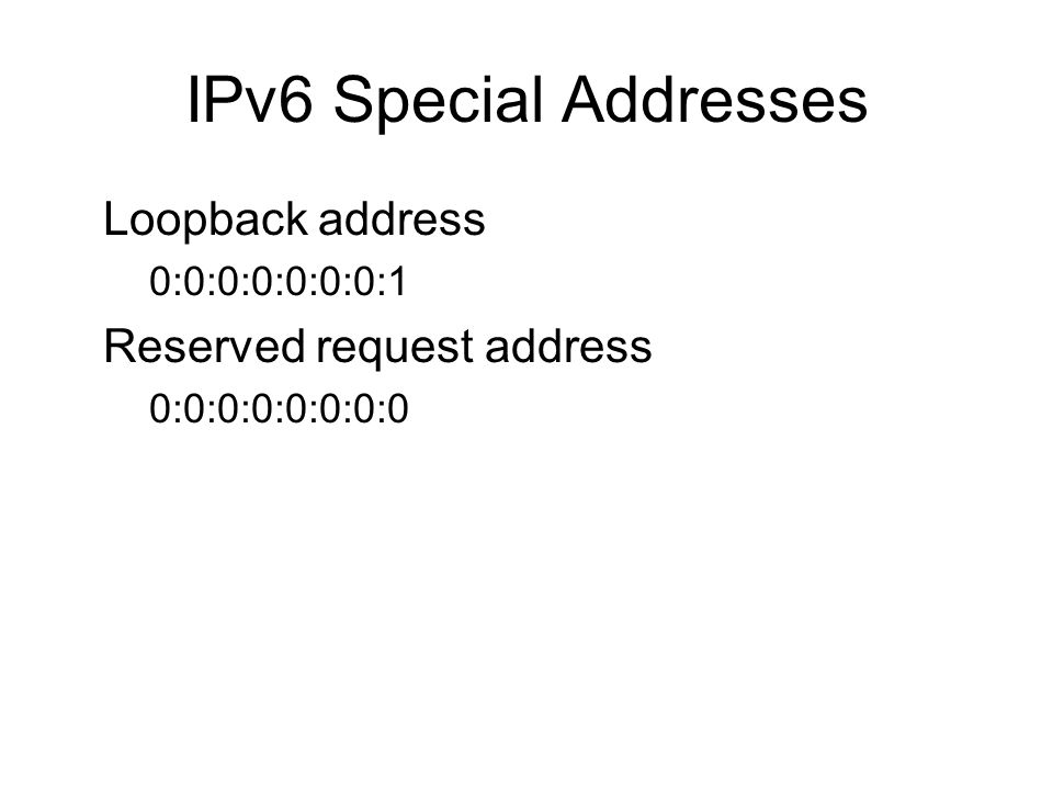 IPv6 Special Addresses Loopback address –0:0:0:0:0:0:0:1 Reserved request address –0:0:0:0:0:0:0:0