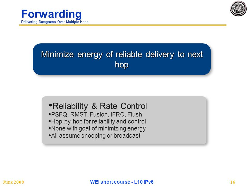June 2008WEI short course - L10 IPv616 Forwarding Delivering Datagrams Over Multiple Hops Minimize energy of reliable delivery to next hop Reliability & Rate Control PSFQ, RMST, Fusion, IFRC, Flush Hop-by-hop for reliability and control None with goal of minimizing energy All assume snooping or broadcast