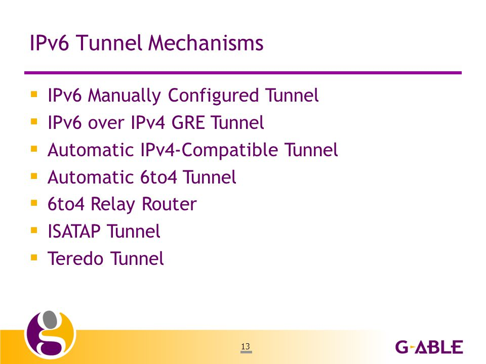 13 IPv6 Tunnel Mechanisms  IPv6 Manually Configured Tunnel  IPv6 over IPv4 GRE Tunnel  Automatic IPv4-Compatible Tunnel  Automatic 6to4 Tunnel  6to4 Relay Router  ISATAP Tunnel  Teredo Tunnel