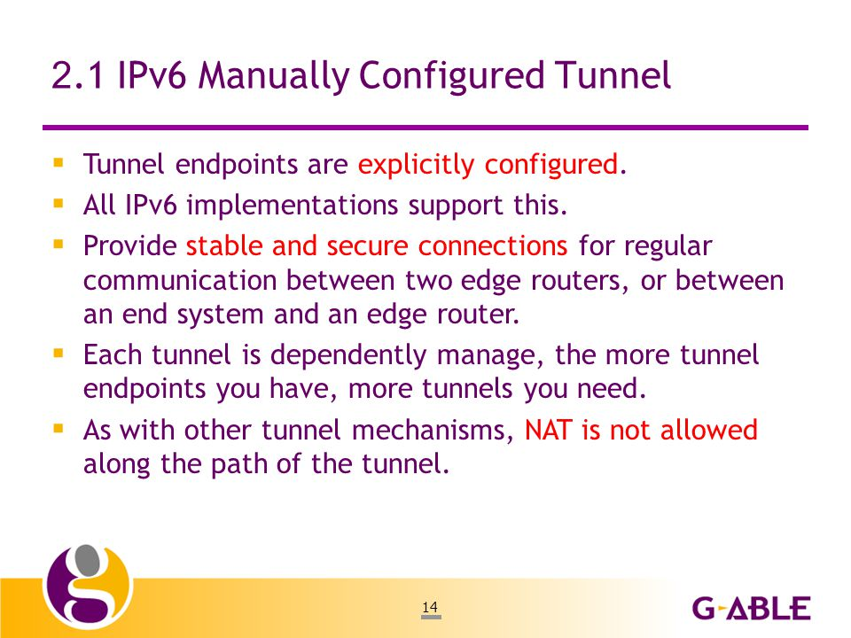 14 2.1 IPv6 Manually Configured Tunnel  Tunnel endpoints are explicitly configured.