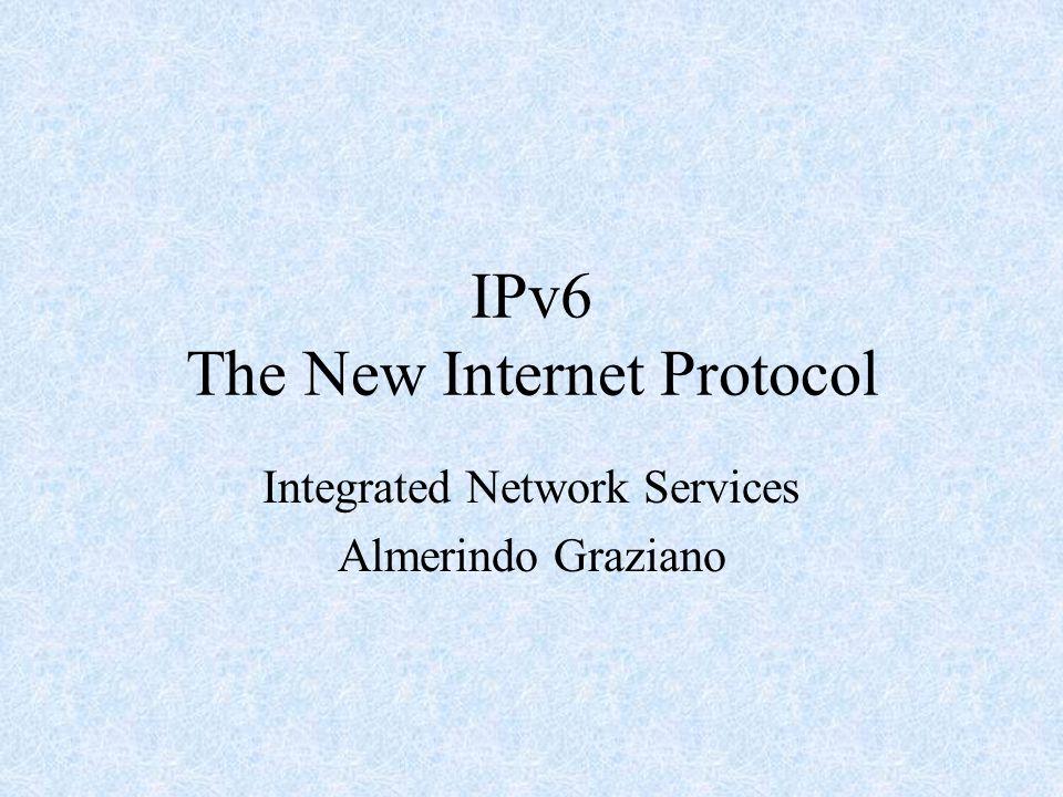 Introduction Justification for IPv6 IPv6 goals IPv6 Addressing The new Header –Extension Headers Recap