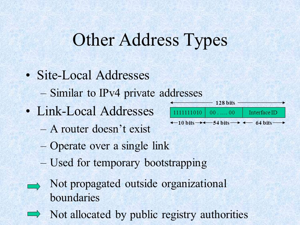 Other Address Types Site-Local Addresses –Similar to IPv4 private addresses Link-Local Addresses –A router doesn't exist –Operate over a single link –Used for temporary bootstrapping Not propagated outside organizational boundaries Not allocated by public registry authorities 1111111010 00.