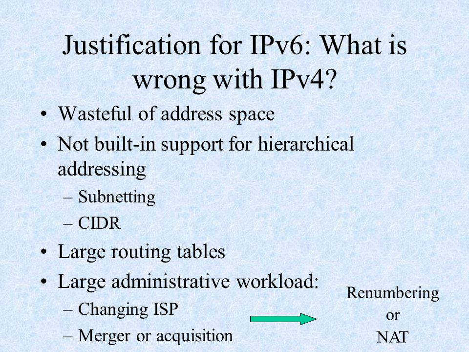 Justification for IPv6: What is wrong with IPv4.