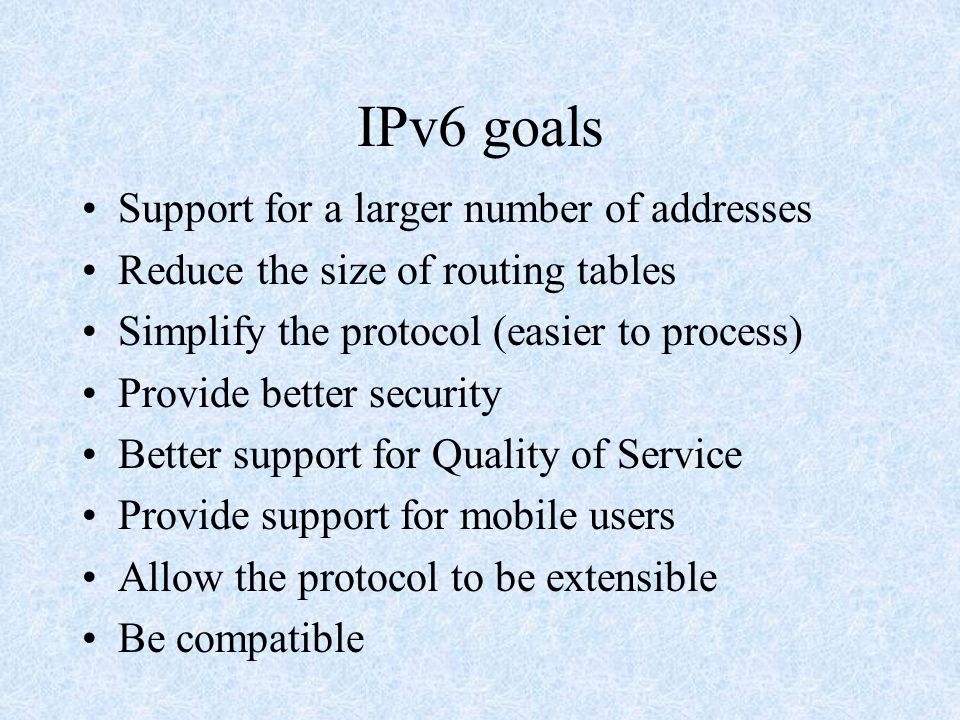 IPv6 Addressing scheme Designed to be highly scalable and hierarchical 16-byte long –7x10 23 IP addresses per square meter!!.