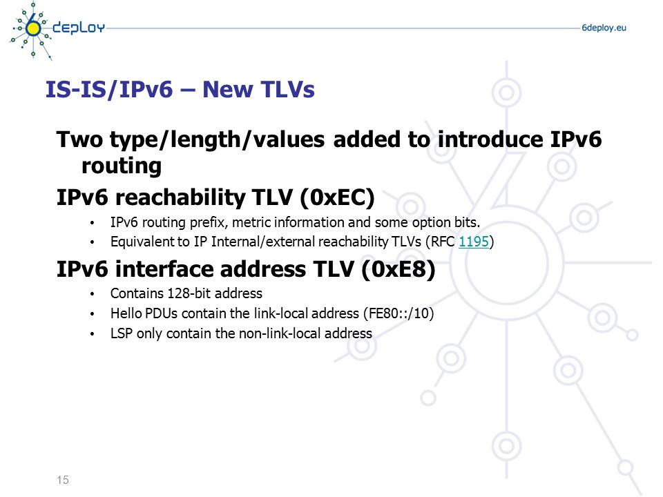 IS-IS/IPv6 – New TLVs Two type/length/values added to introduce IPv6 routing IPv6 reachability TLV (0xEC) IPv6 routing prefix, metric information and