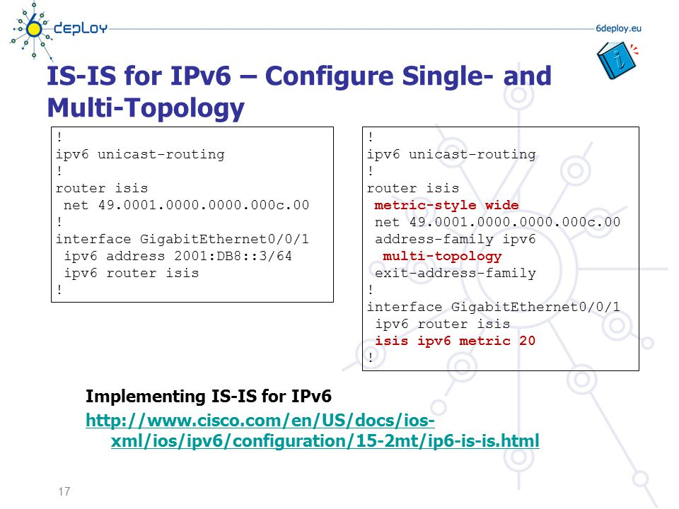 IS-IS for IPv6 – Configure Single- and Multi-Topology Implementing IS-IS for IPv6 http://www.cisco.com/en/US/docs/ios- xml/ios/ipv6/configuration/15-2