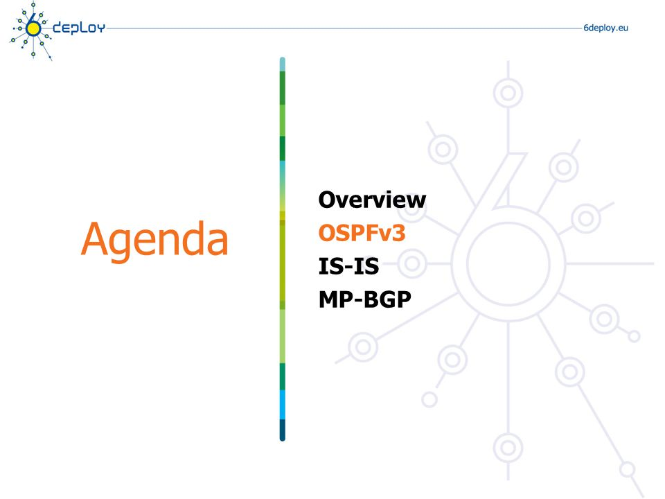 Agenda Overview OSPFv3 IS-IS MP-BGP