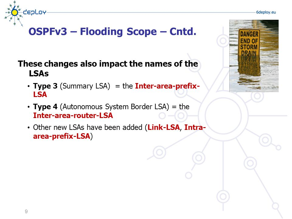OSPFv3 – Flooding Scope – Cntd. These changes also impact the names of the LSAs Type 3 (Summary LSA) = the Inter-area-prefix- LSA Type 4 (Autonomous S
