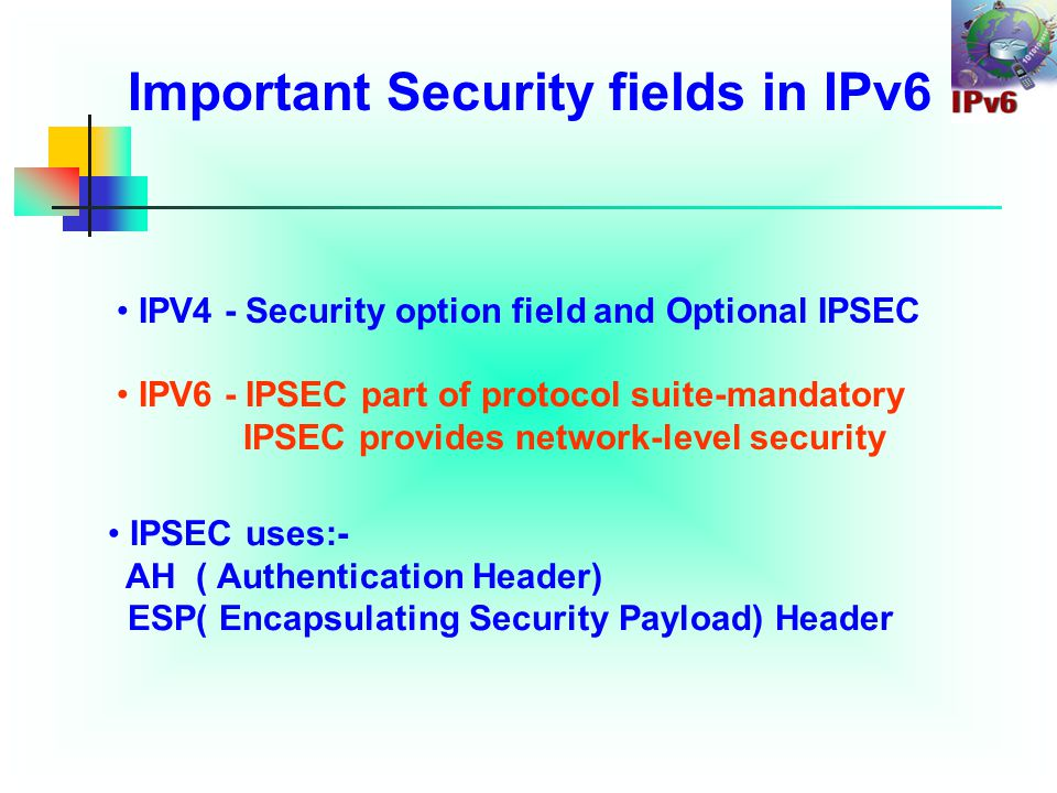 Security Advantages of IPv6 Over IPv4 (2) IPv4 - Security issues related to ICMPV4.
