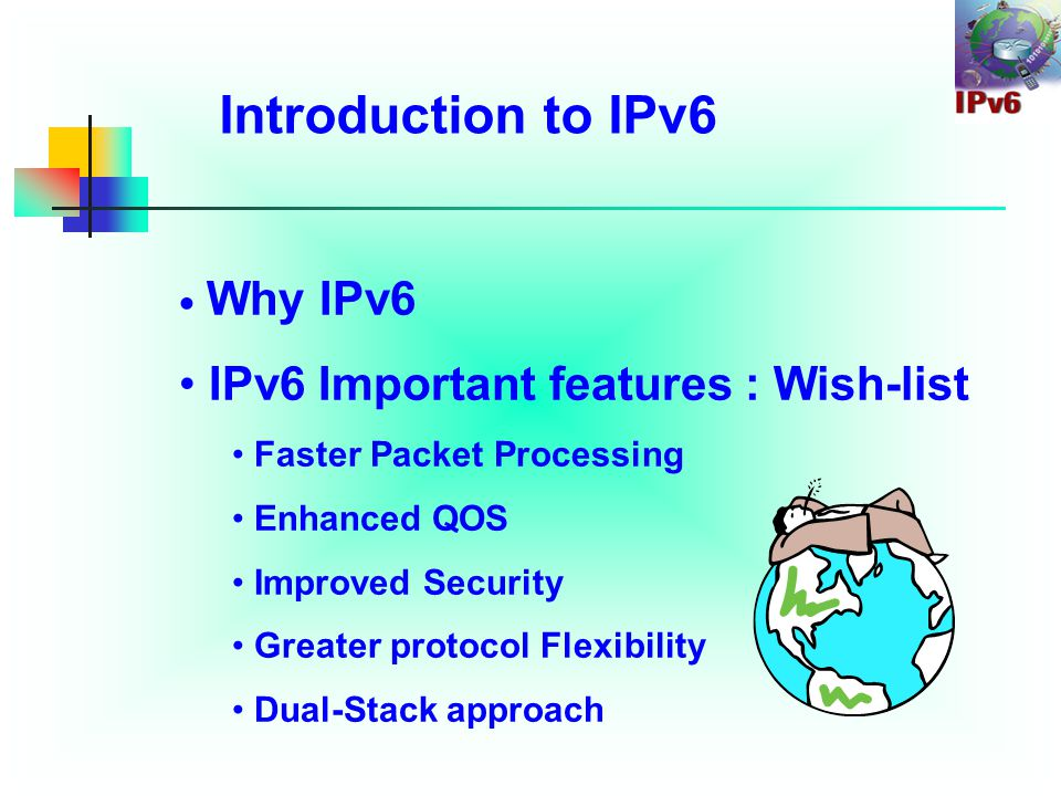 IPv6 Security Aspects Agenda Introduction to IPv6 IPv4 and IPv6 Comparison Current issues in IPv4 IPv6 solutions for IPv4 issues New issues of new protocol Hacking Tools Conclusion