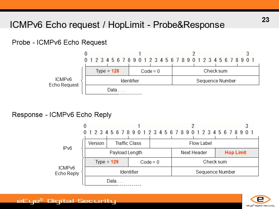 23 ICMPv6 Echo request / HopLimit - Probe&Response Probe - ICMPv6 Echo Request Response - ICMPv6 Echo Reply Flow Label Payload Length Type = 129 Code = 0 Check sum IdentifierSequence Number Data...