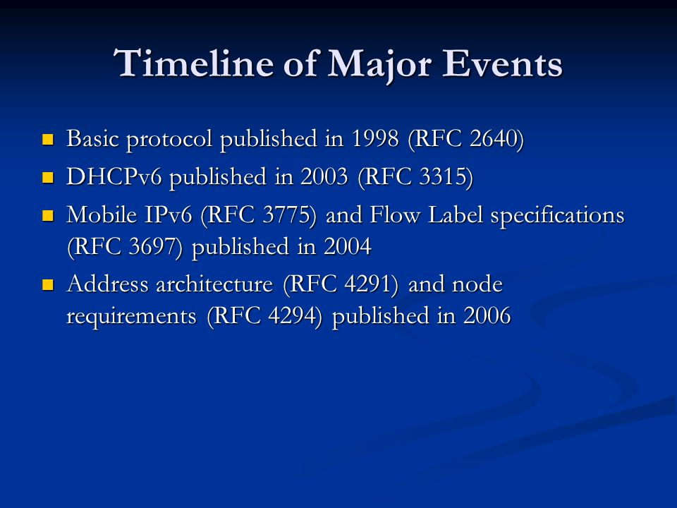 Timeline of Major Events Basic protocol published in 1998 (RFC 2640) Basic protocol published in 1998 (RFC 2640) DHCPv6 published in 2003 (RFC 3315) DHCPv6 published in 2003 (RFC 3315) Mobile IPv6 (RFC 3775) and Flow Label specifications (RFC 3697) published in 2004 Mobile IPv6 (RFC 3775) and Flow Label specifications (RFC 3697) published in 2004 Address architecture (RFC 4291) and node requirements (RFC 4294) published in 2006 Address architecture (RFC 4291) and node requirements (RFC 4294) published in 2006