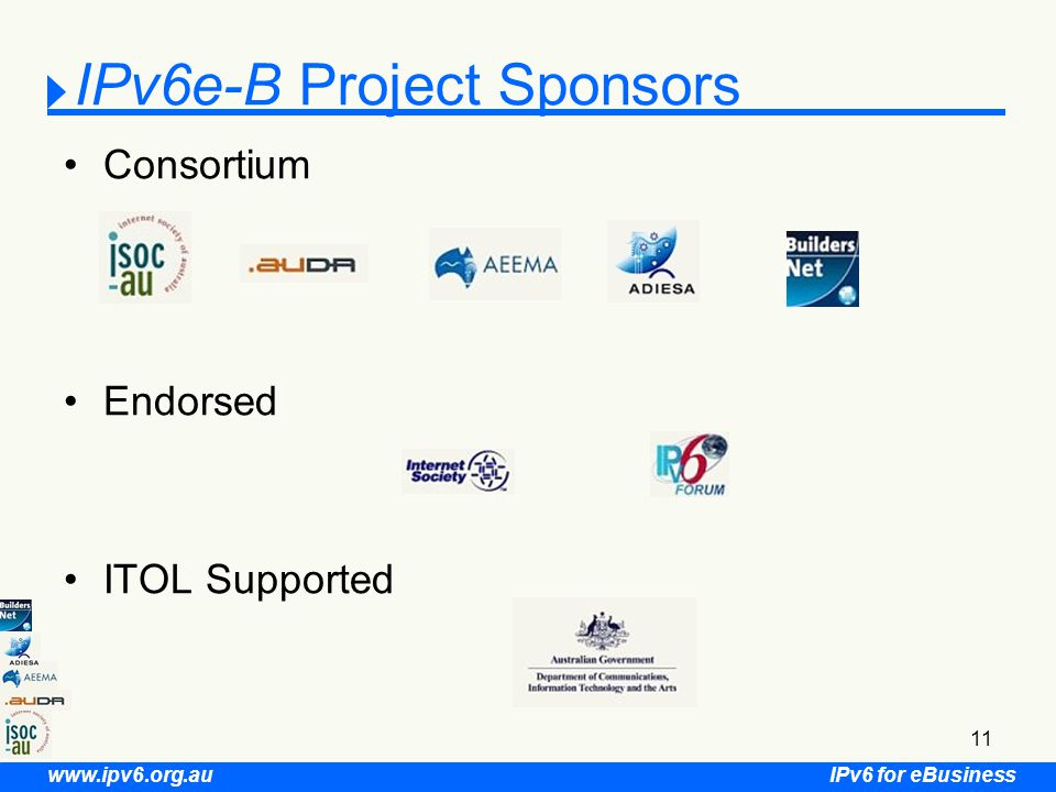 IPv6 for eBusiness www.ipv6.org.au 11 IPv6e-B Project Sponsors Consortium Endorsed ITOL Supported