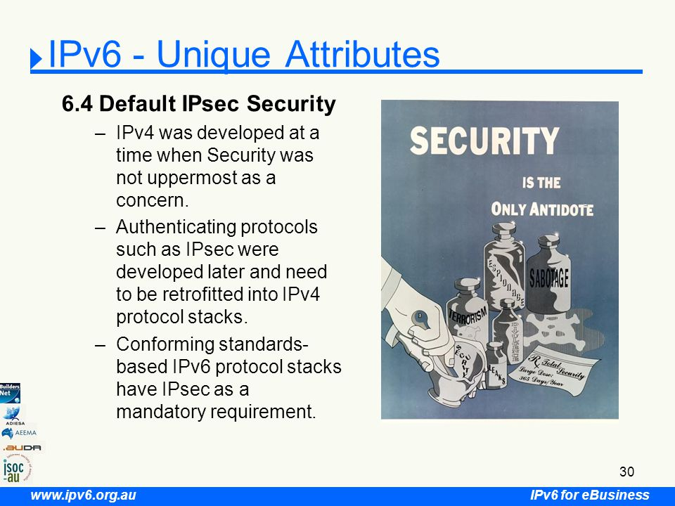IPv6 for eBusiness www.ipv6.org.au 30 IPv6 - Unique Attributes 6.4 Default IPsec Security –IPv4 was developed at a time when Security was not uppermost as a concern.