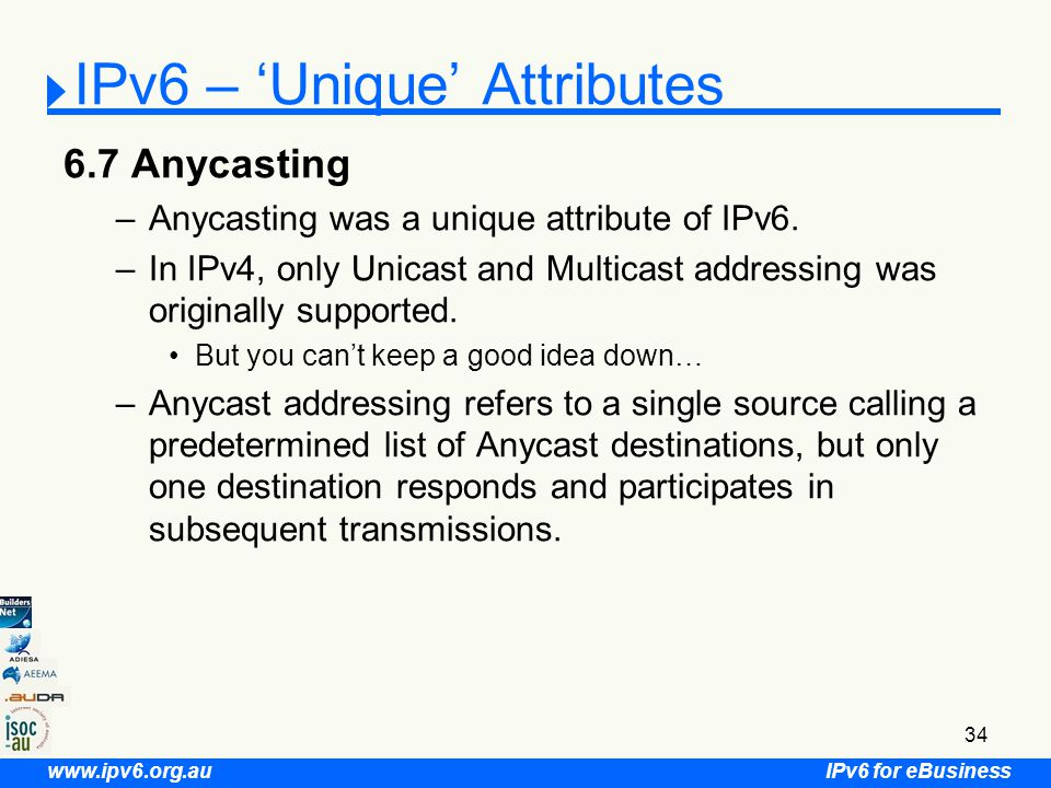 IPv6 for eBusiness www.ipv6.org.au 34 6.7 Anycasting –Anycasting was a unique attribute of IPv6.