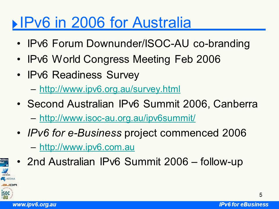 IPv6 for eBusiness www.ipv6.org.au 6 Key International IPv6 Issues for Australia Key Trading & Strategic Partners –Japan: developing since 1998, commercial IPv6 offerings –South Korea: IT839 mandating IPv6 by 2010 –China: IPv6 demonstration Projects by 2008 –USA: defence & government backbones IPv6 by 2008
