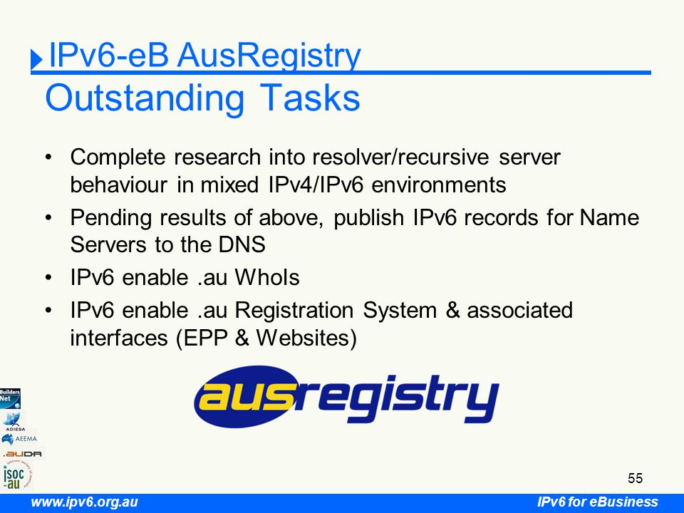 IPv6 for eBusiness www.ipv6.org.au 55 Outstanding Tasks Complete research into resolver/recursive server behaviour in mixed IPv4/IPv6 environments Pending results of above, publish IPv6 records for Name Servers to the DNS IPv6 enable.au WhoIs IPv6 enable.au Registration System & associated interfaces (EPP & Websites) IPv6-eB AusRegistry