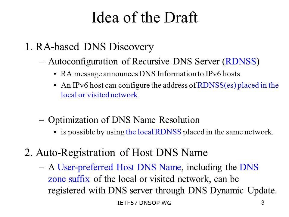 3IETF57 DNSOP WG Idea of the Draft 1.