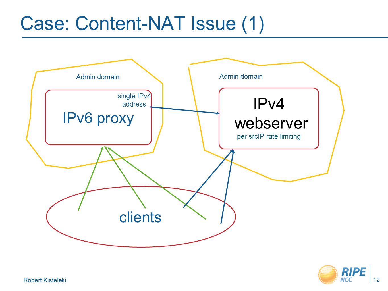 Robert Kisteleki 12 Case: Content-NAT Issue (1) IPv4 webserver per srcIP rate limiting clients IPv6 proxy single IPv4 address Admin domain