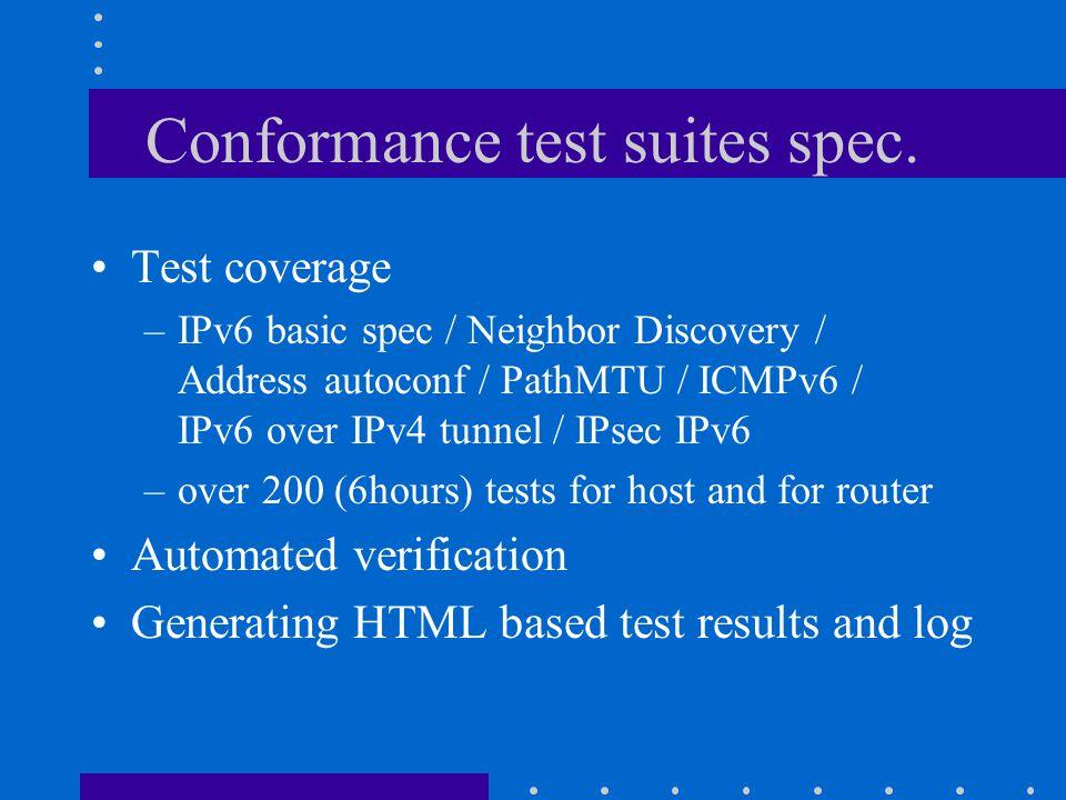 Conformance test suites spec.
