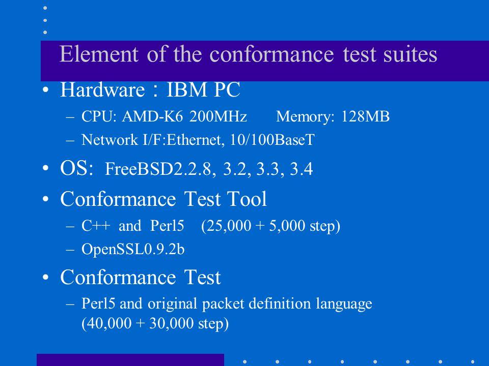 Element of the conformance test suites Hardware : IBM PC –CPU: AMD-K6 200MHz Memory: 128MB –Network I/F:Ethernet, 10/100BaseT OS: FreeBSD2.2.8, 3.2, 3.3, 3.4 Conformance Test Tool –C++ and Perl5 (25,000 + 5,000 step) –OpenSSL0.9.2b Conformance Test –Perl5 and original packet definition language (40,000 + 30,000 step)