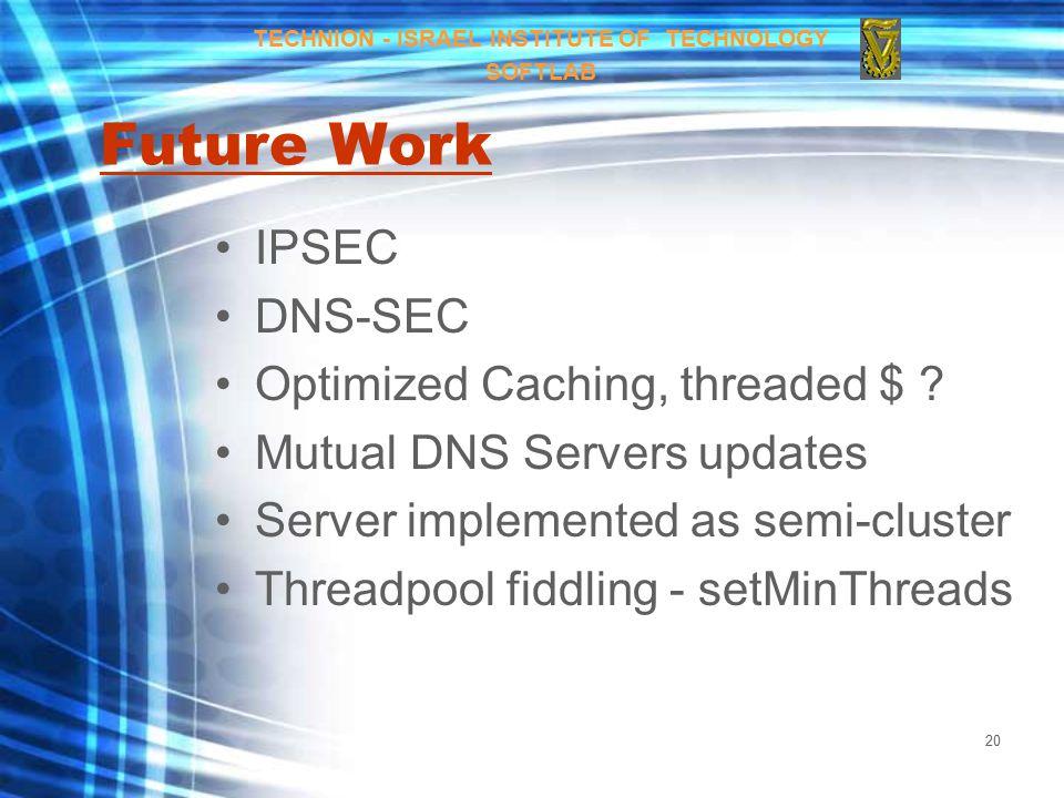 20 Future Work IPSEC DNS-SEC Optimized Caching, threaded $ .
