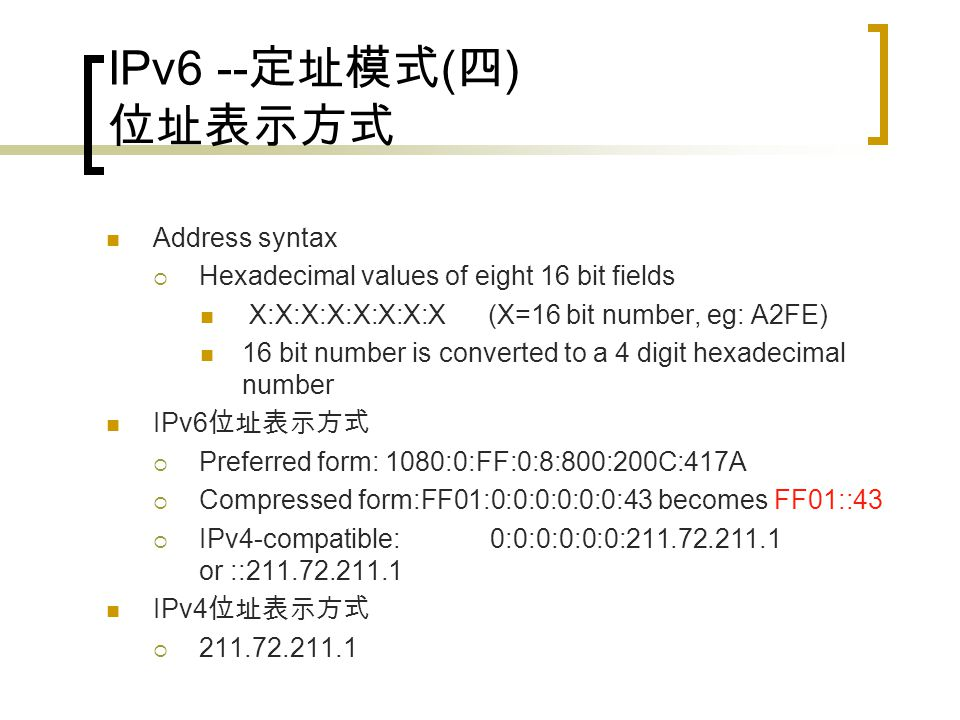 IPv6 -- 定址模式 ( 三 ) LAN addressing Subnet prefix + MAC address = /128 /128 SUBNET PREFIX /64 /128
