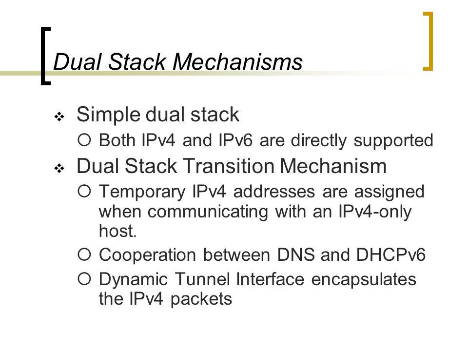 Dual Stack RFC 1933 NGTRANS draft : Draft-ietf-ngtrans-dstm-07.txt IPv4/IPv6 Dual Stack Dual Stack IPv6 IPv4 Dual Stack AIIH (DHCPv6, DNS)