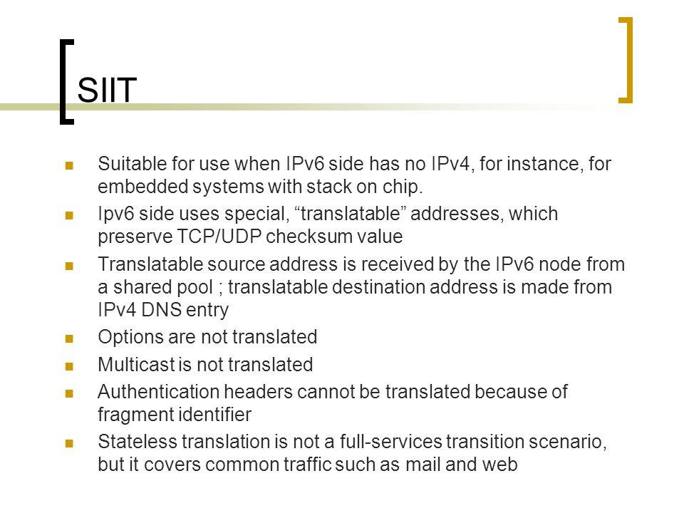 Translator RFC 2765 ; RFC 2766 RFC 2767 RFC 3089 ; RFC 3142 IPv6 IPv4 NATPT SIIT IPv4 Apps BITS IPv6 Stack IPv4 Apps BITS IPv6 Stack IPv6 Host IPv6IPv4 Host Socks-Gateway TCPUDP-Relay