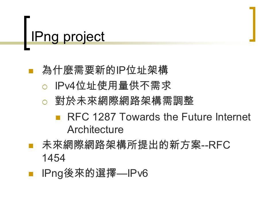IPv4 所面臨的問題 IPv4 位址的消耗之問題  IPv4 定址方式 IPv4 定址 Subnetting 可變長度子網路遮罩 (VLSM-Variable Length Subnet Mask)  IPv4 位址不足的處理方式 CIDR NAT  IPv4 定址架構相關技術之 RFC  亞太地區 IPv4 目前使用狀況 Routing Table 成長遽增的問題  Routing Table 介紹  Routing Table 成長所造成的各項問題