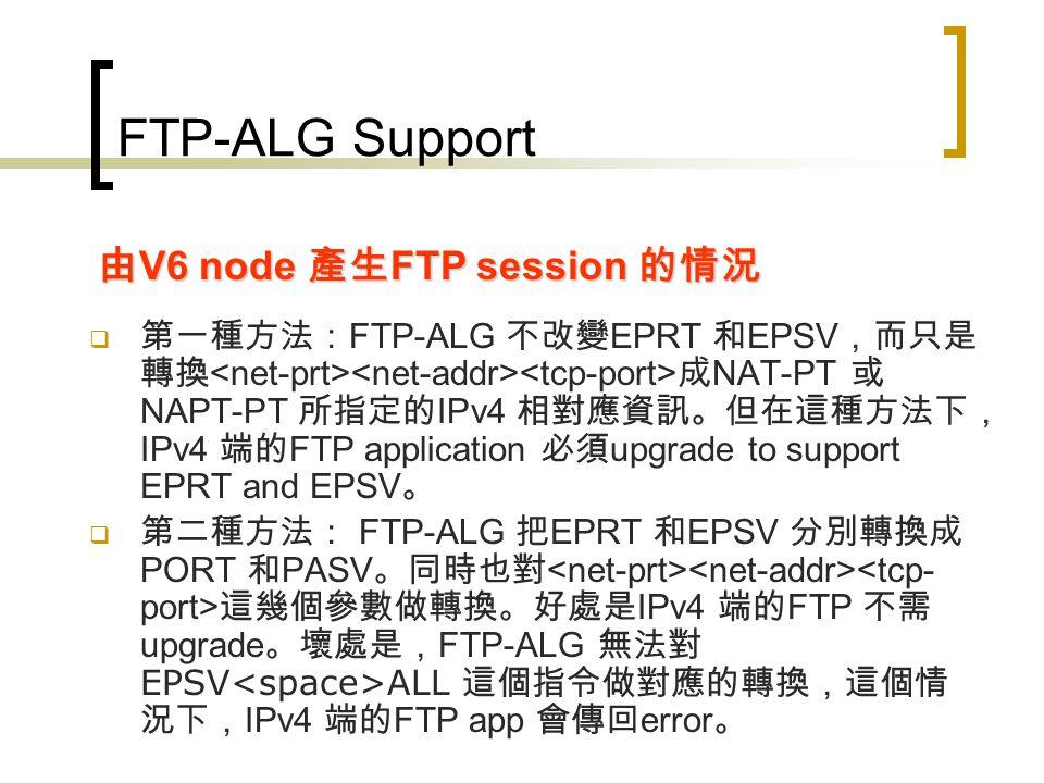 FTP-ALG Support V4 node 可能有 implement EPRT 和 EPSV 也可能沒有。 如果 V4 node 利用 PORT 和 PASV 送出 FTPSession Request 的話, FTP-ALG 會將指令分別轉換成 EPRT 和 EPSV 。 由 V4 node 產生 FTP session 的情況