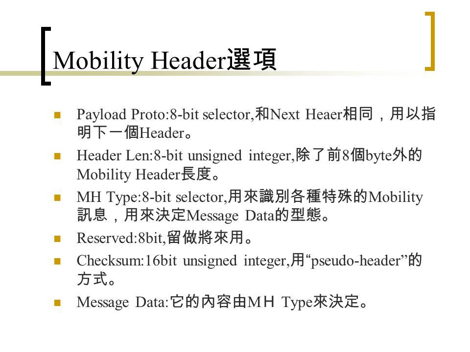 Mobility Header 選項 IPv6 封包增加了 Mobility Header 選項 。 封包格式