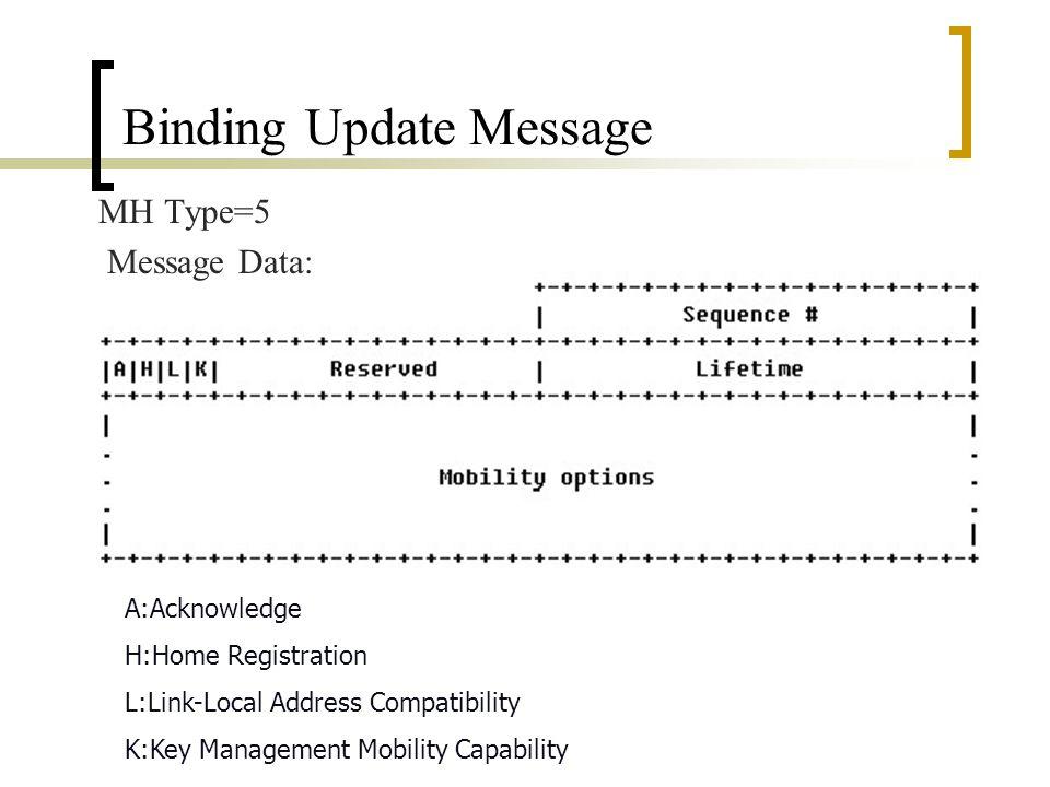 Mobility Header 選項 Payload Proto:8-bit selector, 和 Next Heaer 相同,用以指 明下一個 Header 。 Header Len:8-bit unsigned integer, 除了前 8 個 byte 外的 Mobility Header 長度。 MH Type:8-bit selector, 用來識別各種特殊的 Mobility 訊息,用來決定 Message Data 的型態。 Reserved:8bit, 留做將來用。 Checksum:16bit unsigned integer, 用 pseudo-header 的 方式。 Message Data: 它的內容由 M H Type 來決定。