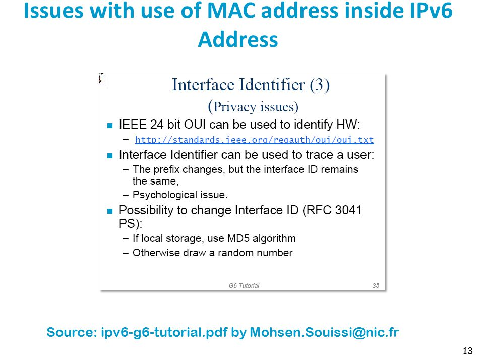 Issues with use of MAC address inside IPv6 Address 13 Source: ipv6-g6-tutorial.pdf by Mohsen.Souissi@nic.fr