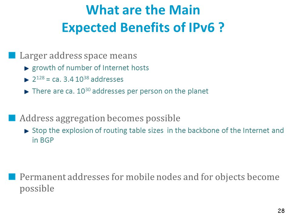 What are the Main Expected Benefits of IPv6 .