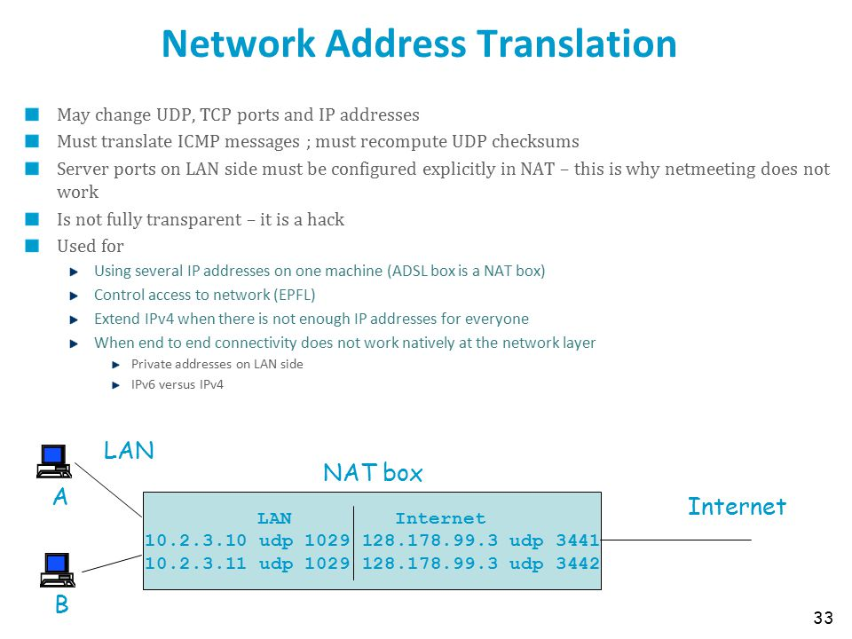 Network Address Translation May change UDP, TCP ports and IP addresses Must translate ICMP messages ; must recompute UDP checksums Server ports on LAN side must be configured explicitly in NAT – this is why netmeeting does not work Is not fully transparent – it is a hack Used for Using several IP addresses on one machine (ADSL box is a NAT box) Control access to network (EPFL) Extend IPv4 when there is not enough IP addresses for everyone When end to end connectivity does not work natively at the network layer Private addresses on LAN side IPv6 versus IPv4 33 LAN Internet 10.2.3.10 udp 1029 128.178.99.3 udp 3441 10.2.3.11 udp 1029 128.178.99.3 udp 3442 NAT box Internet LAN A B