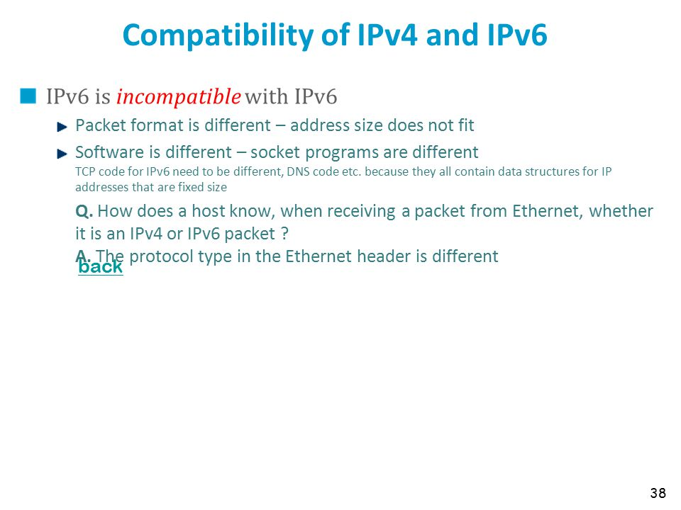 Compatibility of IPv4 and IPv6 IPv6 is incompatible with IPv6 Packet format is different – address size does not fit Software is different – socket pr