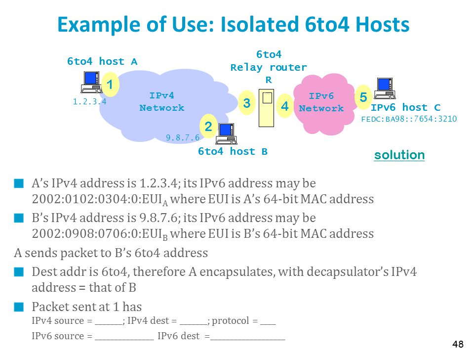 Example of Use: Isolated 6to4 Hosts A's IPv4 address is 1.2.3.4; its IPv6 address may be 2002:0102:0304:0:EUI A where EUI is A's 64-bit MAC address B's IPv4 address is 9.8.7.6; its IPv6 address may be 2002:0908:0706:0:EUI B where EUI is B's 64-bit MAC address A sends packet to B's 6to4 address Dest addr is 6to4, therefore A encapsulates, with decapsulator's IPv4 address = that of B Packet sent at 1 has IPv4 source = _______; IPv4 dest = _______; protocol = ____ IPv6 source = _______________ IPv6 dest =___________________ 48 IPv6 Network 6to4 host A 6to4 host B IPv6 host C 6to4 Relay router R IPv4 Network 1 2 3 4 5 1.2.3.4 9.8.7.6 FEDC:BA98::7654:3210 solution