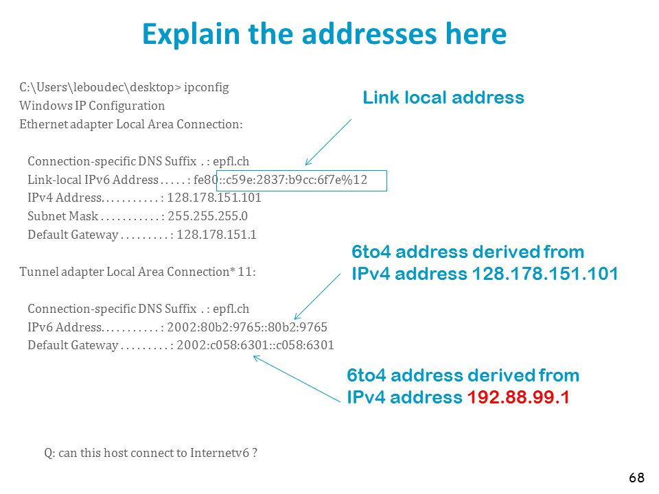 Explain the addresses here C:\Users\leboudec\desktop> ipconfig Windows IP Configuration Ethernet adapter Local Area Connection: Connection-specific DNS Suffix.