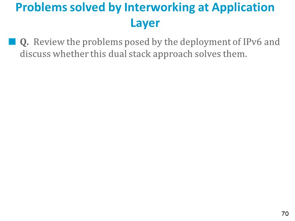 Problems solved by Interworking at Application Layer Q.