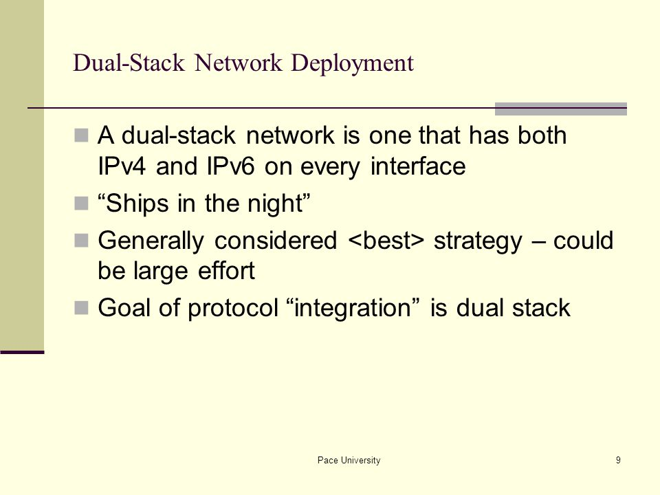 Pace University20 Link-local ISATAP example Two ISATAP hosts exchanging packets using link- local addresses Only route on ISATAP hosts is send all IPv6 traffic via ISATAP pseudo-IF Hosts are many IPv4 hops away which appear link- local to IPv6