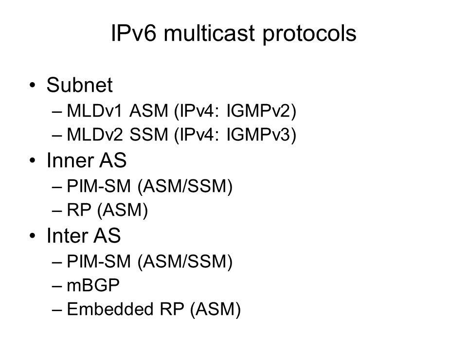 IPv6 multicast protocols Subnet –MLDv1 ASM (IPv4: IGMPv2) –MLDv2 SSM (IPv4: IGMPv3) Inner AS –PIM-SM (ASM/SSM) –RP (ASM) Inter AS –PIM-SM (ASM/SSM) –m