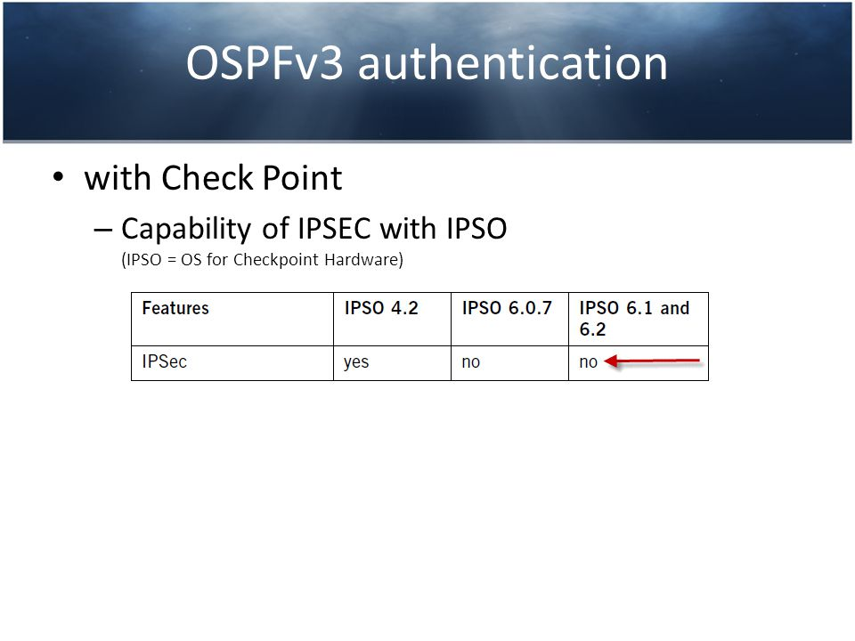 OSPFv3 authentication with Check Point – Capability of IPSEC with IPSO (IPSO = OS for Checkpoint Hardware)