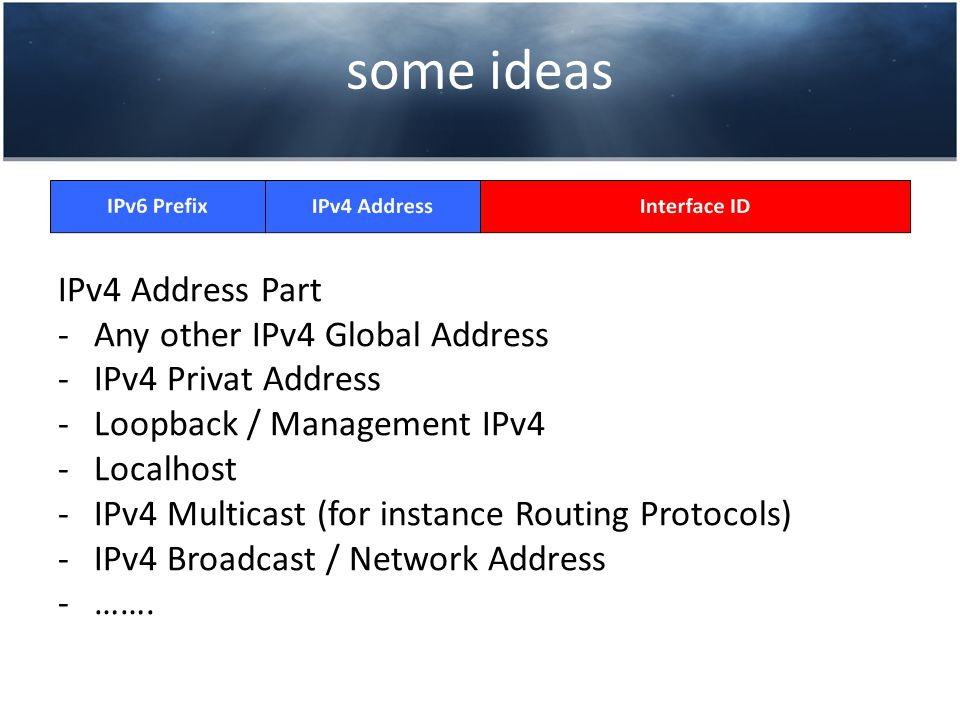some ideas IPv4 Address Part -Any other IPv4 Global Address -IPv4 Privat Address -Loopback / Management IPv4 -Localhost -IPv4 Multicast (for instance Routing Protocols) -IPv4 Broadcast / Network Address -…….