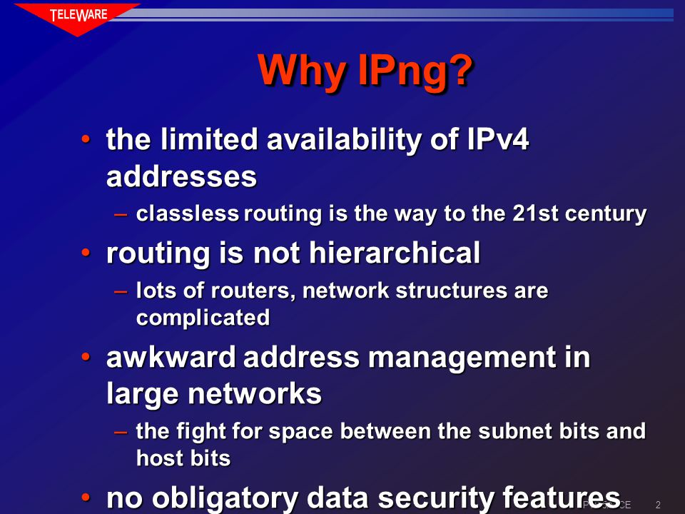 1 IPv6 5A7CE IP Next Generation (IPv6) what what why why when when