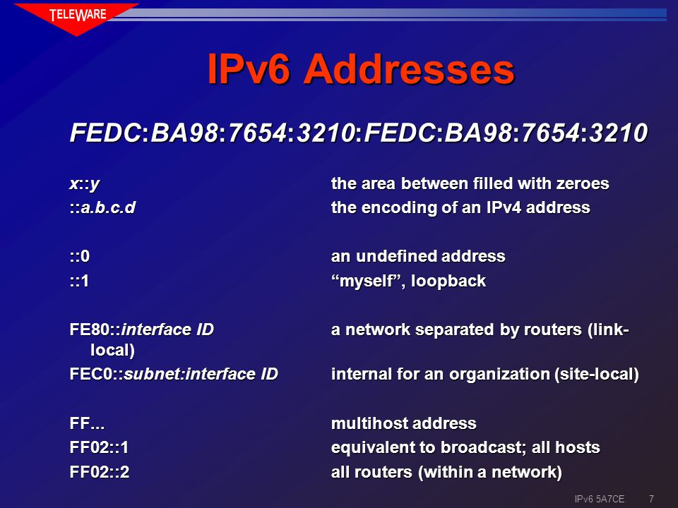 6 IPv6 5A7CE Important when Assigning Addresses the encoding of topological informationthe encoding of topological information geographical informationgeographical information mesh structures, multi-homingmesh structures, multi-homing methods of assigning host numbersmethods of assigning host numbers growing the hierarchygrowing the hierarchy multicast addressesmulticast addresses addresses for mobile hostsaddresses for mobile hosts other protocols (also IPv4)other protocols (also IPv4)