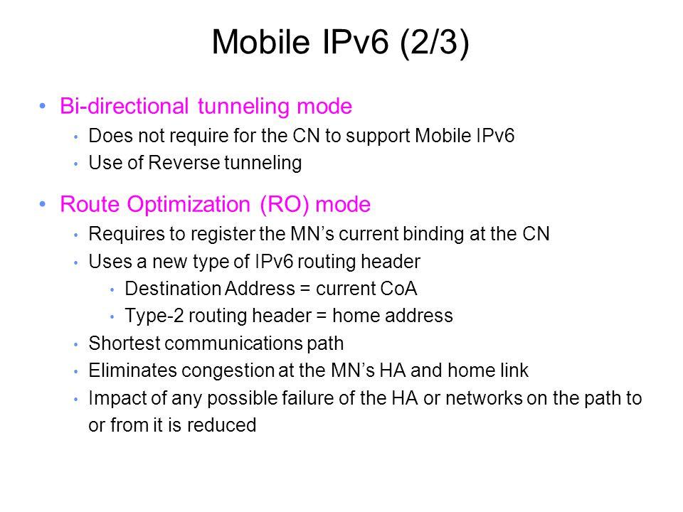 Standardization (2/2) IETF Mobile IP WG Mobile IPv4 Low latency handoff –draft-ietf-mobileip-lowlatency-handoffs-v4-09.txt, June 2004.
