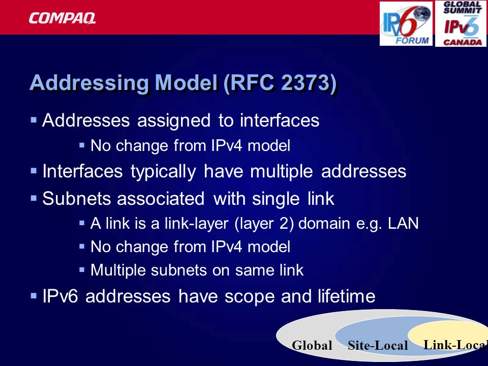 16 Addressing Model (RFC 2373)  Addresses assigned to interfaces  No change from IPv4 model  Interfaces typically have multiple addresses  Subnets associated with single link  A link is a link-layer (layer 2) domain e.g.