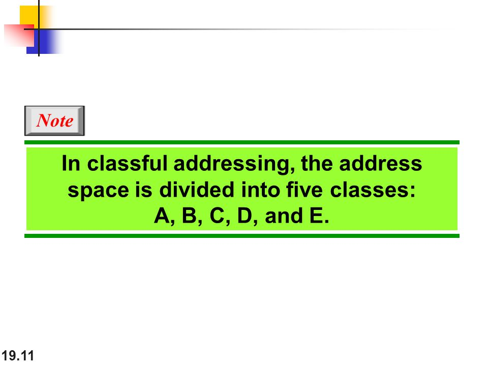 19.11 In classful addressing, the address space is divided into five classes: A, B, C, D, and E.